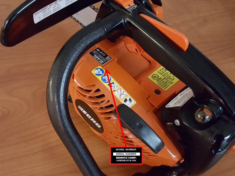Serial Number Location for ECHO Chain Saws
